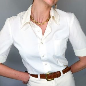 Vintage white button front stretch blouse, Size M